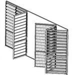 Celosías de madera con marco corrugable horizontal dibujo